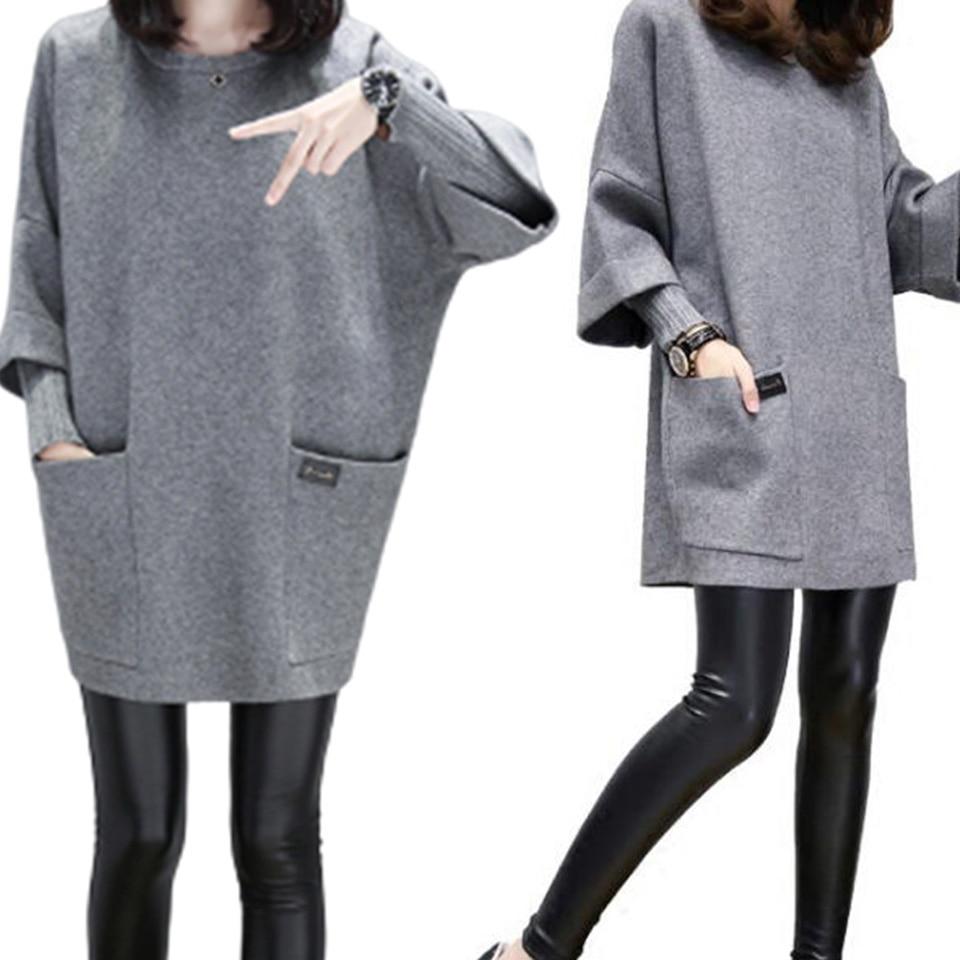 Elegant Sweatshirt Office Wear Hoodie With Pocket Two Layers Elastic Women Long Sleeve Poleron Mujer 2020 Plain Hoodie 4xl Solid