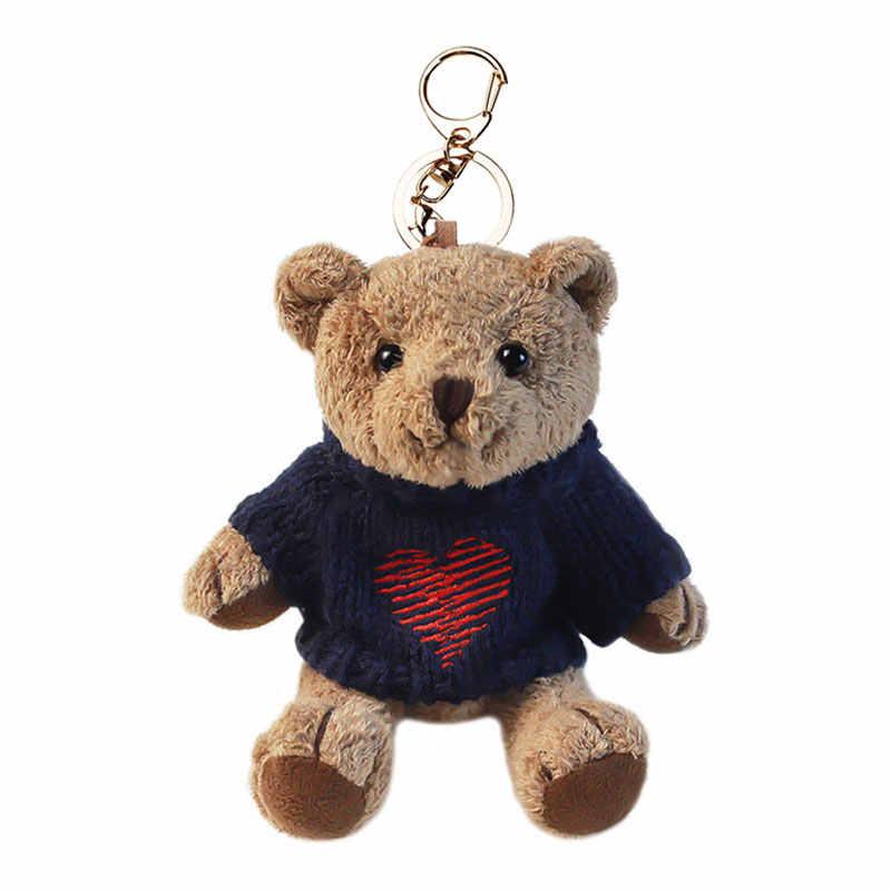 귀여운 만화 동물 플러시 장난감 키 체인 배낭 키 체인 크리 에이 티브 스웨터 곰 사지 이동식 스웨터 곰 인형 장난감 여자에 대 한