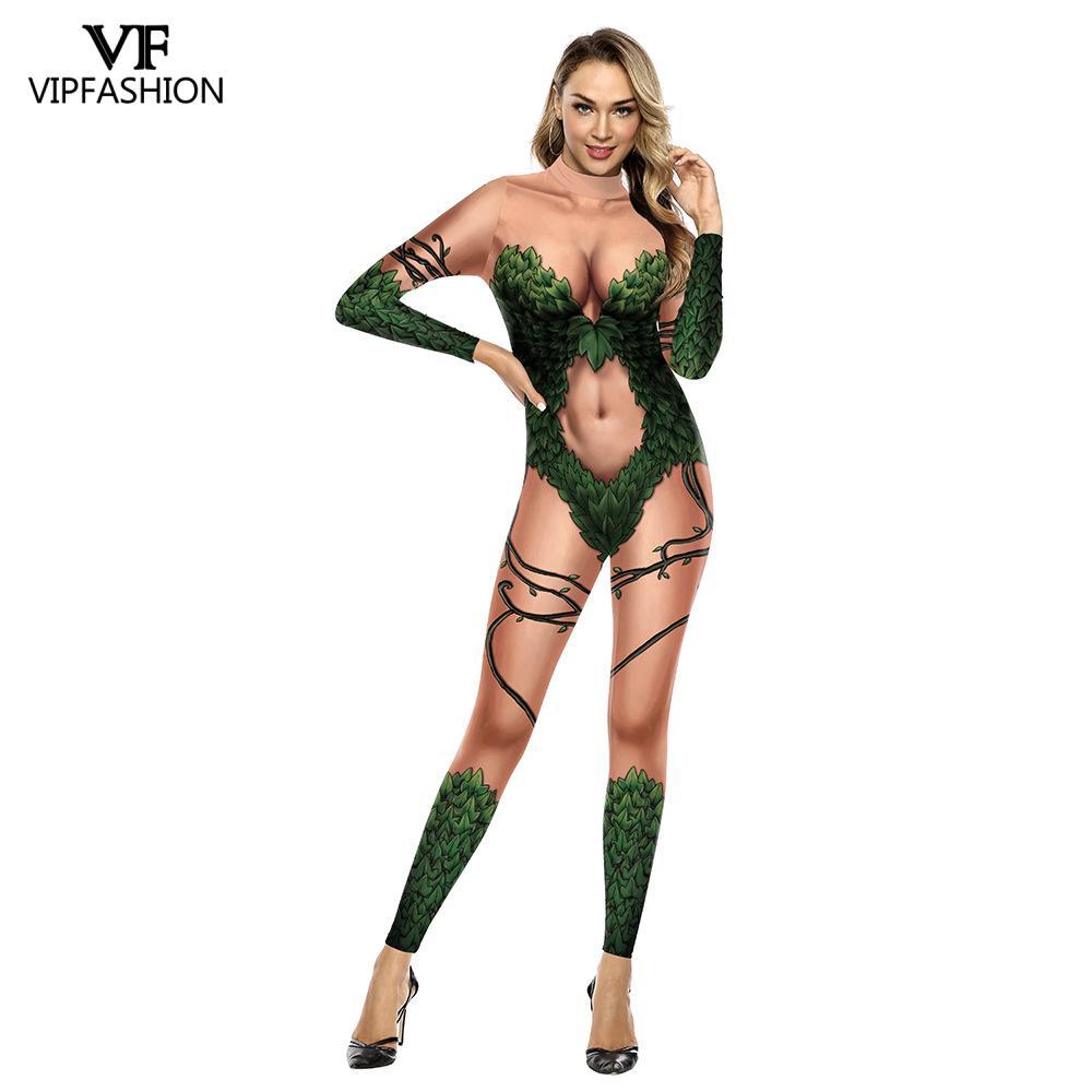 VIP FASHION Adult Women's Batman Poison Ivy Costume Halloween Cosplay Fancy Dress Spandex Jumpsuit