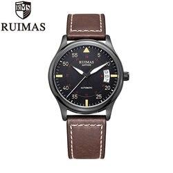 Ruimas automatyczne zegarek mechaniczny mężczyzna luksusowe klasyczny biznes Miyota Top marka Luminous męskie zegary Retro zegarek Relogio|Zegarki mechaniczne|   -