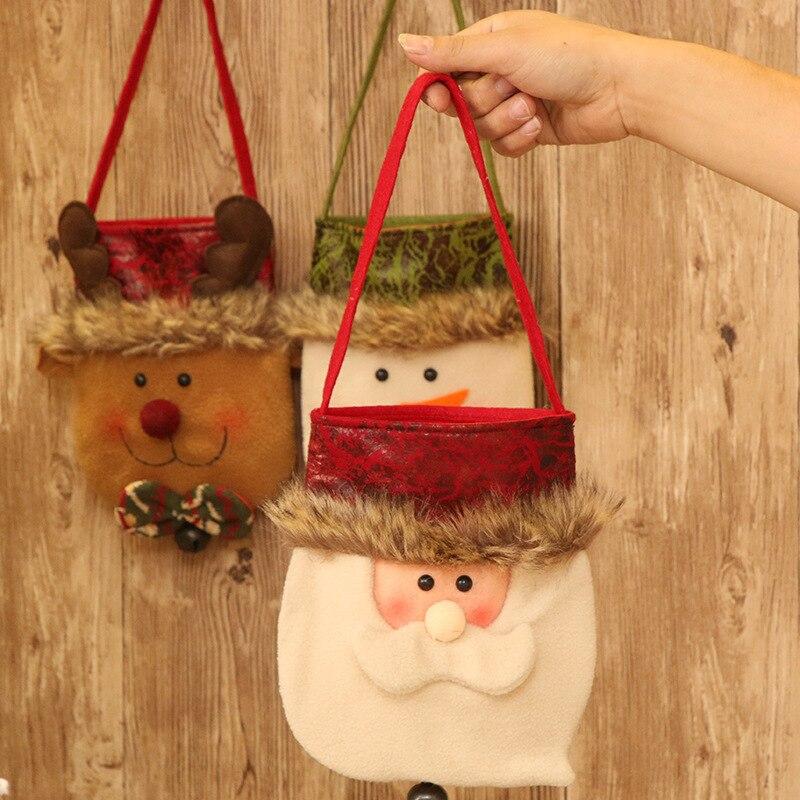Novedosos soportes de regalo X'MAS Santa Claus muñeco de nieve ciervo bolsa de diseño con campana Navidad Fiesta suministros 18*43 cm 10 uds/lote DEC421 - 2