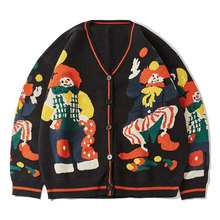 2021 drôle Clown imprimé tricoté Cardigan pull hommes femmes Hip Hop coton Harajuku pull surdimensionné Streetwear Unsiex tricot pull