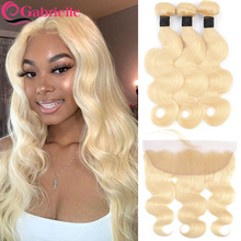 Gabrielle 613 30 inch bundles with frontal Brazilian Body Wave Blonde Bundles with Closure Transparent Lace Remy Human Hair