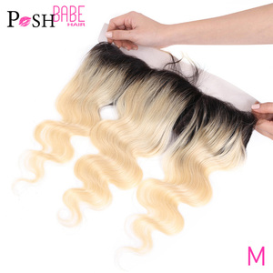 Two Tone Dark Roots with 613 Frontal 8 - 24 inch Remy Human Hair Brazilian Body Wave Ombre Blonde Lace Frontal Free Middle Part(China)