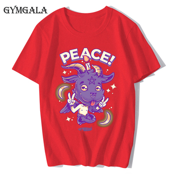 100% cotton anime cartoon Geng ghost printed men's T-shirt summer cotton short-sleeved T-shirt fashion tops tee men's clothing f - XQ-131red, Asian size XS
