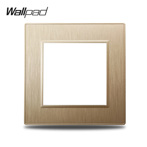 Wallpad S6 DIY Single Gold Panel Brushed PC Plastic For Wall Switch Socket Imitating Aluminum Plate Free Combination, 86*86mm