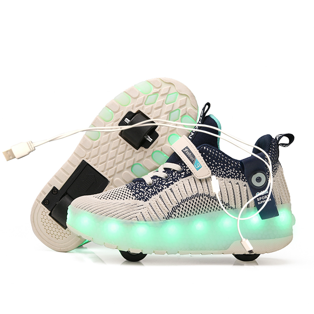 2020 New USB charge LED Colorful Children Kids Fashion Sneakers with Two Wheels Roller Skate Shoes Boys Girls Shoes