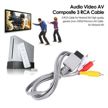 1.8 meters Gold Plated Audio Video AV Composite 3 RCA Cable for Nintendo for Wii black 1 5m 5ft audio video av stereo composite adapter cable for sega genesis md