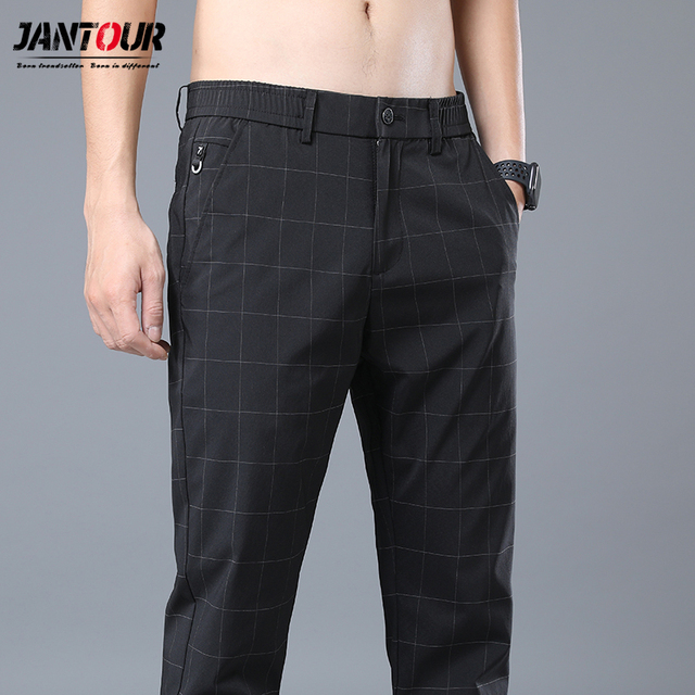 Jantour 2020 Spring New Casual Pants Men Slim Fit Plaid Fashion Gray black Trousers Male Brand Clothing business work pant 28-38 37
