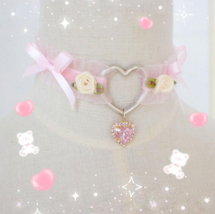 Lolita menina coração feito à mão do vintage sexy rosa laço gargantilha colar gótico colar de indicação para acessórios femininos