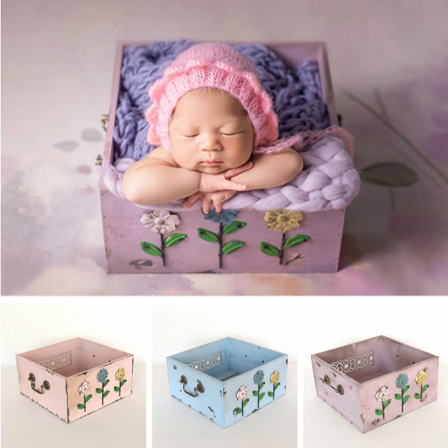 Newborn Baby Photography Prop Baby Posing Container Flower Wooden Box Infant Shoot Accessory Purple Drawer Box Photo Studio Prop