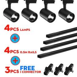 Весь комплект светодиодные трековые светильники 12/20 Вт, 30 Вт, 40W COB трековые светильники для магазина рельс Алюминий Прожекторы для Костюмы м...