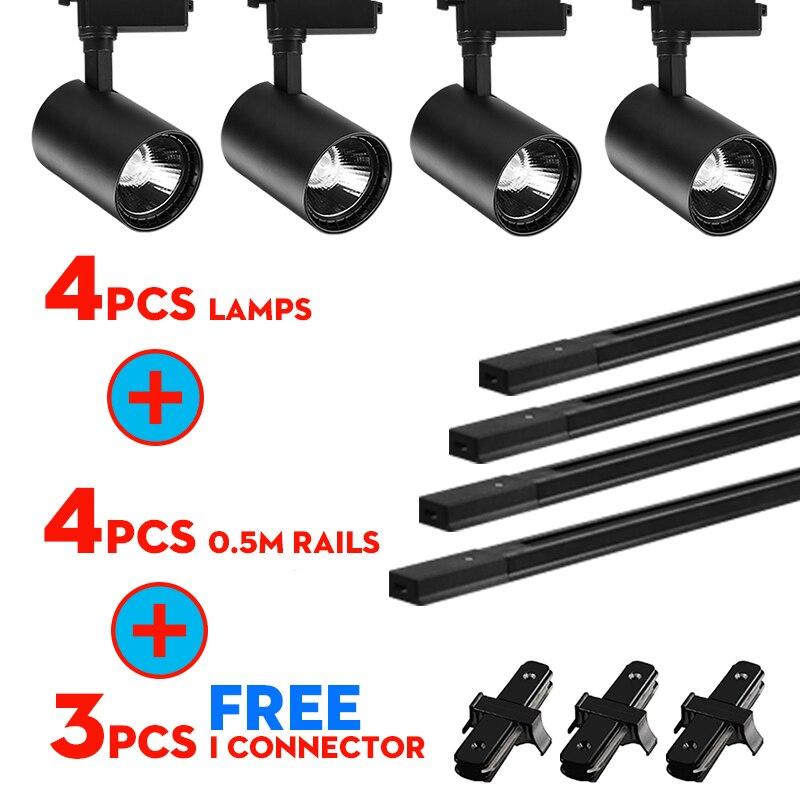 Todo o Conjunto de Led Luzes Da Trilha 12/20/30/40W COB Lâmpadas de Pista para a Loja De Alumínio Ferroviário Holofotes para a Loja de Roupas Iluminação de Pista
