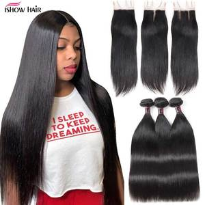 Image 1 - Ishow Straight Hair Bundles with Closure Peruvian Hair Bundles with Closure Human Hair Bundles and Closure for 4x4 Closure Wig