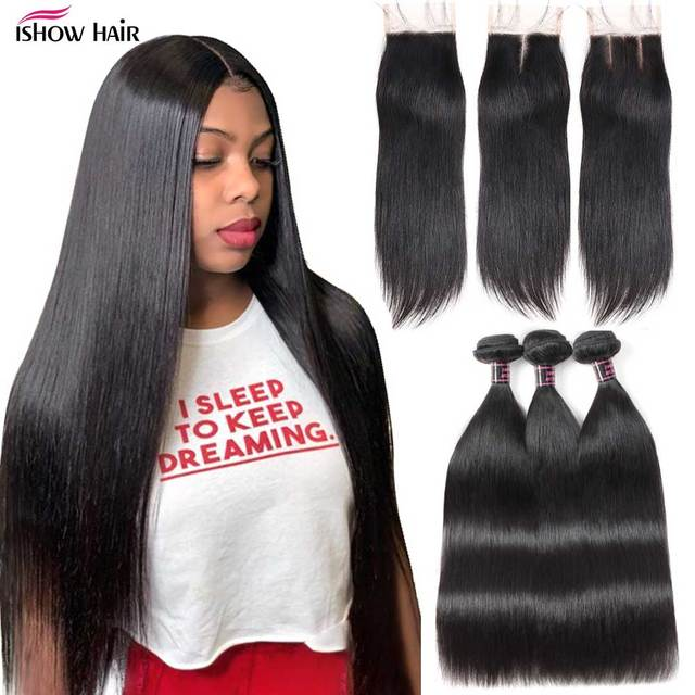 Ishow Straight Hair Bundles with Closure Peruvian Hair Bundles with Closure Human Hair Bundles and Closure for 4x4 Closure Wig