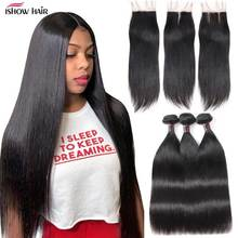 Прямые пряди волос Ishow с закрытием, перуанские пряди с закрытием, пряди человеческих волос и закрытие для парика 4x4