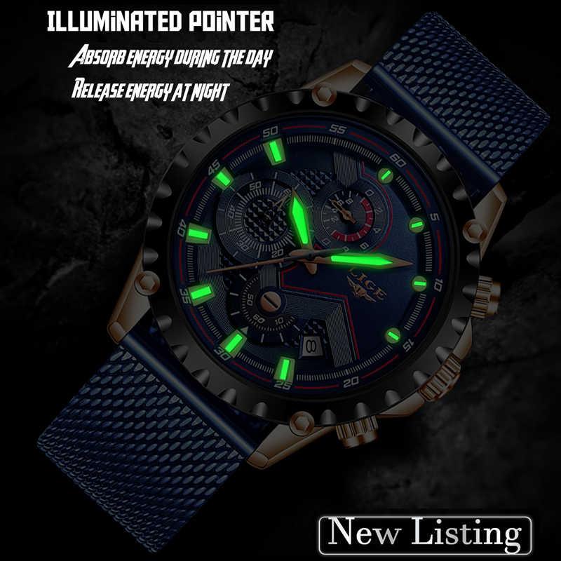 2019LIGE nuevo reloj de hombre correa de malla azul reloj de cuarzo de oro para hombre relojes de marca superior reloj impermeable de lujo masculino