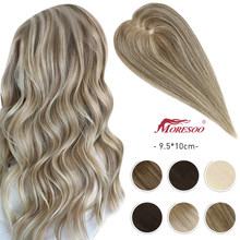 Moresoo Human Hair Toppers Clip in Extensions 9.5*10cm 8-12inch Natural Straight Highlight Color Machine Remy Hair for Women