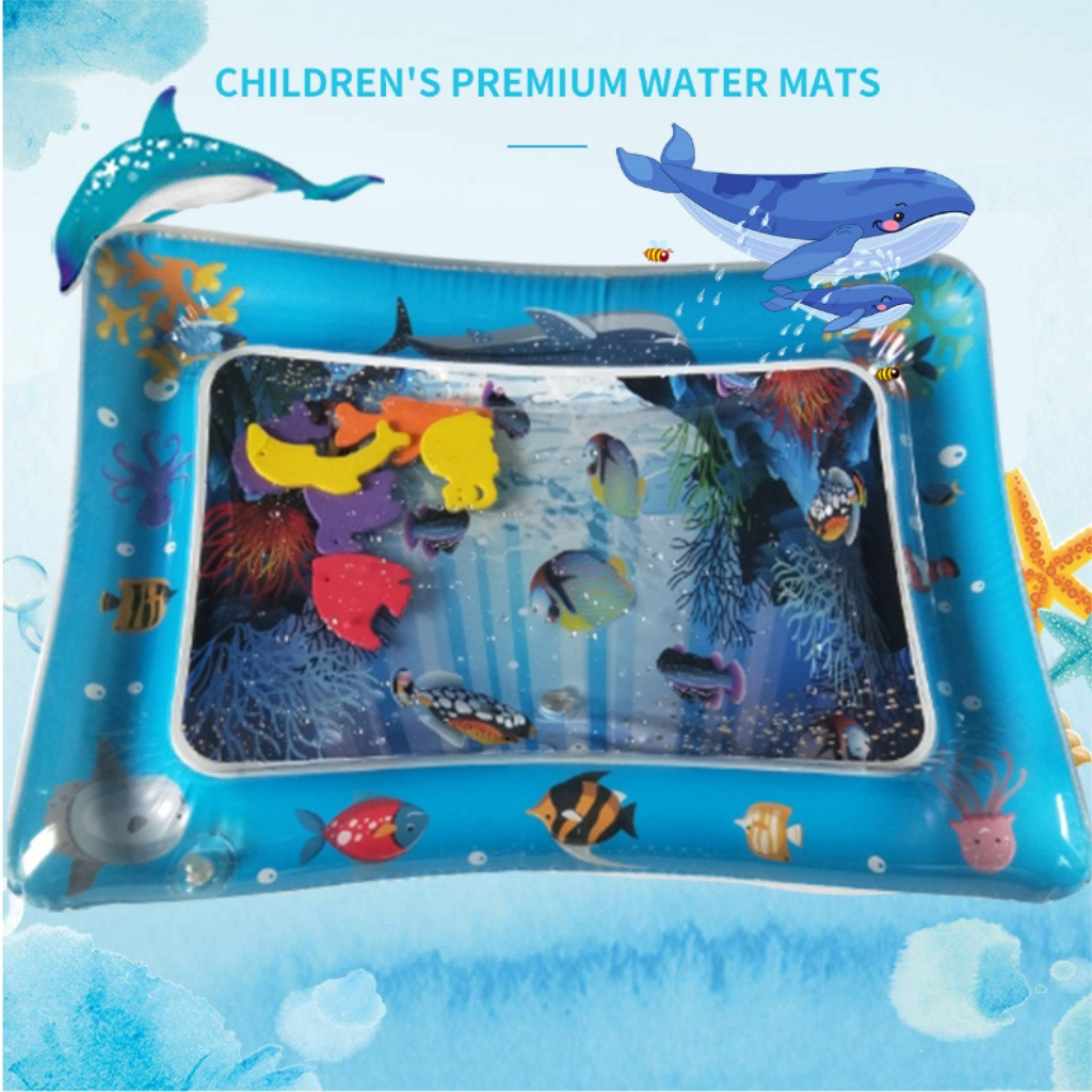 Baby Inflatable Water Mat Sea Life Mat Ice Pad Prone Baby Inflatable Mat Playmat Toddler Activity Play Center Water Mat
