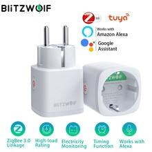 Blitzwolf ue plug zigbee soquete tomada inteligente monitor de energia elétrica temporizador controle remoto funciona com alexa casa do google casa inteligente automação residencial