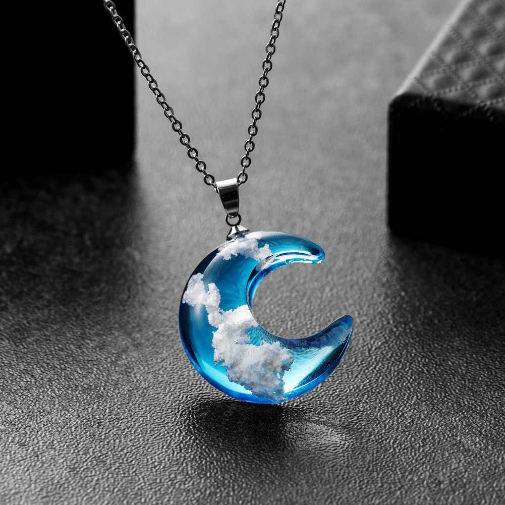 Chique transparente resina rould bola lua pingente colar feminino céu azul branco nuvem corrente colar moda jóias presentes para a menina
