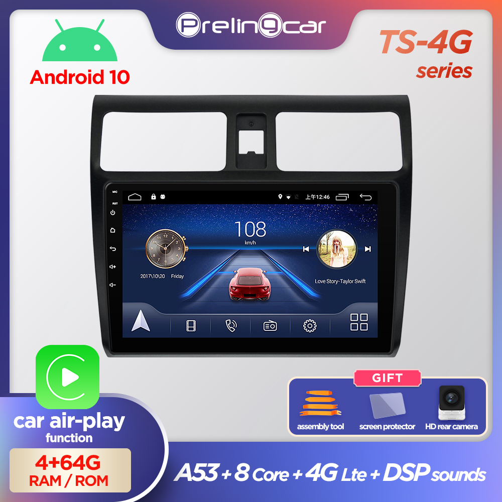 Prelingcar Android 10.0 NO 2 din DVD Car Radio Multimedia Video Player GPS Navigation For <font><b>SUZUKI</b></font> <font><b>Swift</b></font> <font><b>2005</b></font> 06 07 08 09 10-2016 image