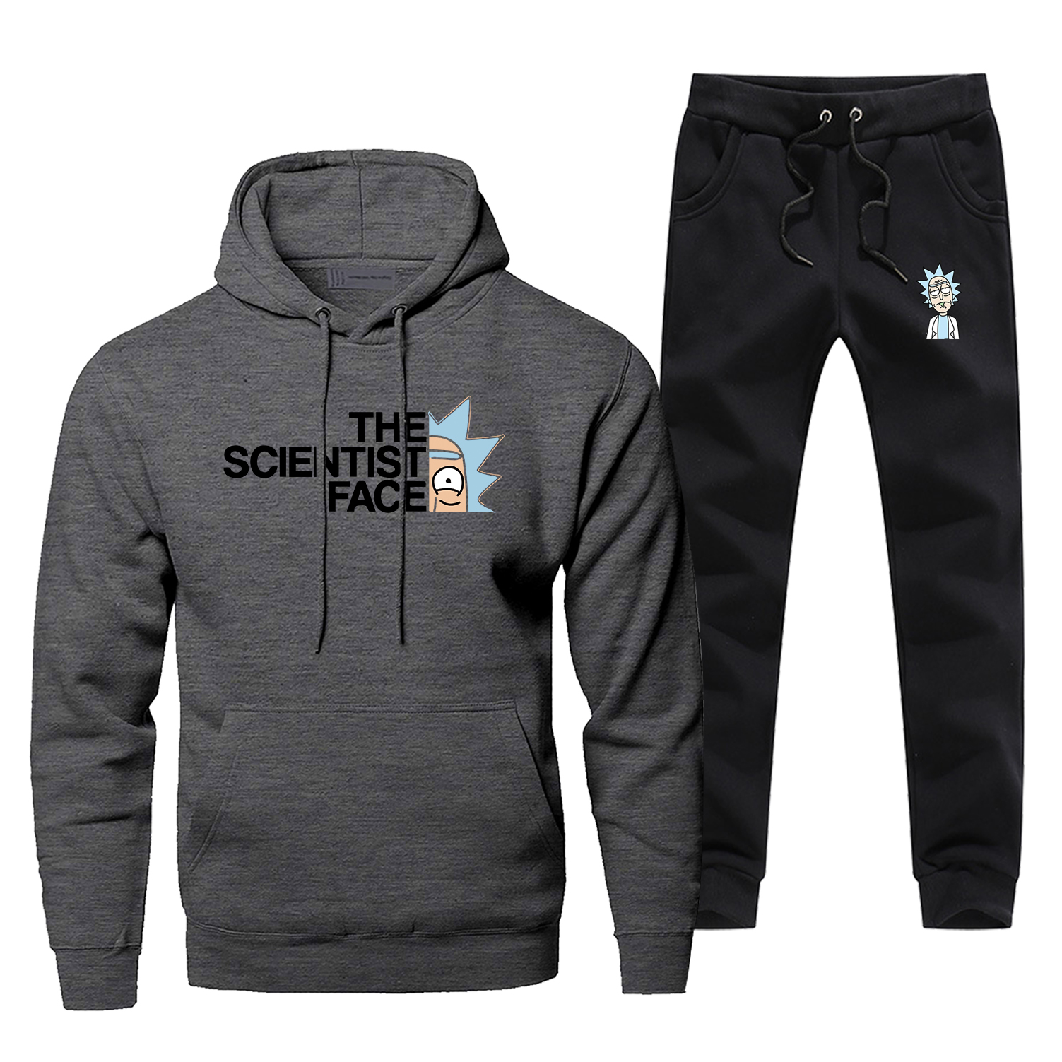 The Scientist Face Hoodies Crazy Rick And Morty Men's Full Suit Tracksuit Fashion Men's Sets Casual Fleece Sweatpants Streetwear