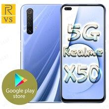 هاتف ذكي أصلي Realme X50 5G شاشة 6.57 بوصة سناب دراجون 765G 5G ثماني النواة أندرويد 10 SA/NSA NFC