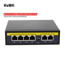 KuWFi 4Port POE 100Mbps Network Switch 48V Power Ethernet Network Switch 4 PoE Switch Injector for IP camera/Wireless AP/CCTV fghgf poe splitter 10 100mbps poe switch ieee802 3af at standard 48v input 12v output for cctv ip camera ahd dvr nvr
