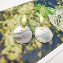 Natural Shell Pendant Earrings Drop Elliptical Triangle Geometric Big for Women Jewelry