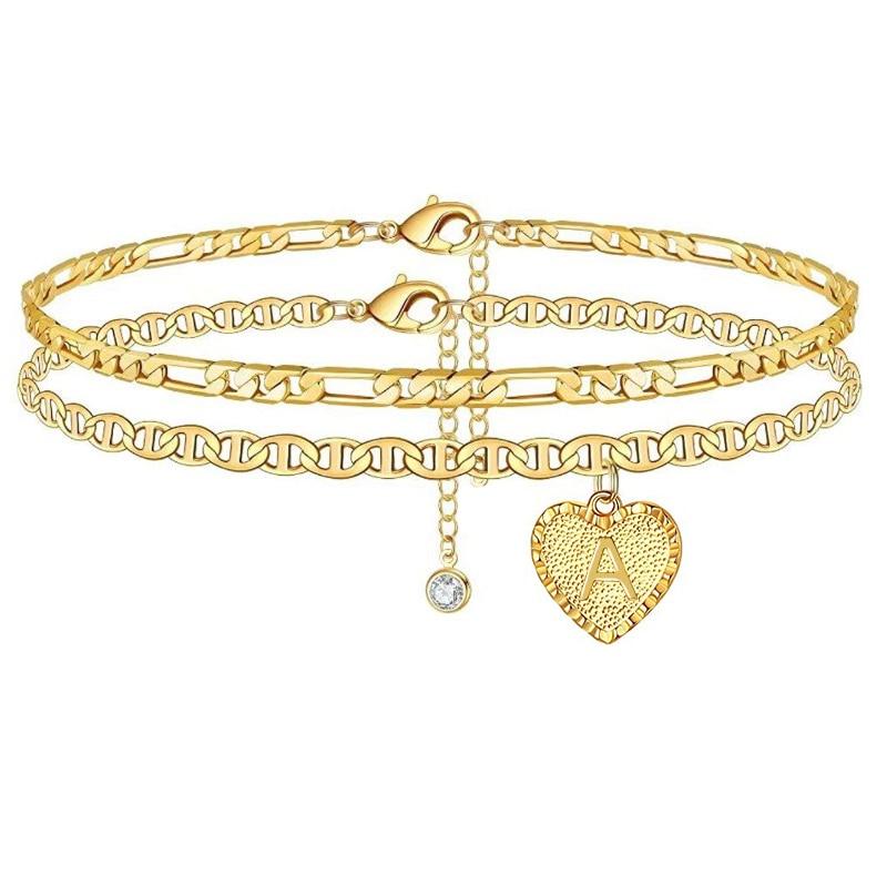 Heart Initials Ankle Bracelet For Women Gold Color Zircon Droplets Letter Anklet Barefoot Beach Accessories Leg Bracelet Jewelry