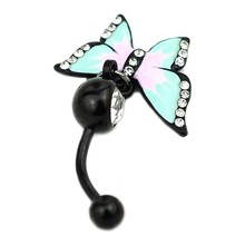 Epoxy Enamel Esmalte Colares Butterflys Belly Button Rings Sexy Body Piercing Jewelry Bars Piercings black Navel Piercing Gothic(China)