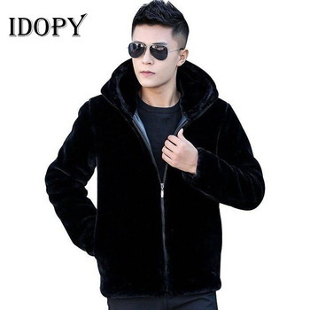 Idopy abrigos de piel para hombre chaqueta de invierno cálida para hombre chaqueta de piel Parka con capucha para motociclista chaquetas con cremallera cárdigan negro prendas de vestir exteriores M-5XL