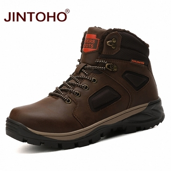 JINTOHO Winter Work & Safety Boots Warm Snow Work Safety Shoes Brand Mens Ankle Boots Male Snow Leather Boots 2019 Winter Shoes