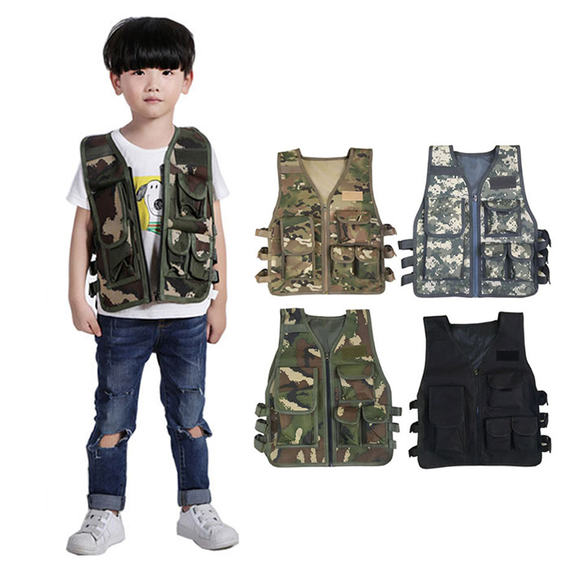Kids Army Tactical Military Uniforms Hunting Combat Bulletproof Vest Special Costumes Forces Children Camouflage Jungle Clothing image