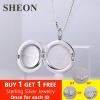 SHEON 1pcs Smooth Photo Frame Geometric Round Pendant Necklaces 925 Sterling Silver Charms Locket Necklace Women Memory Jewelry