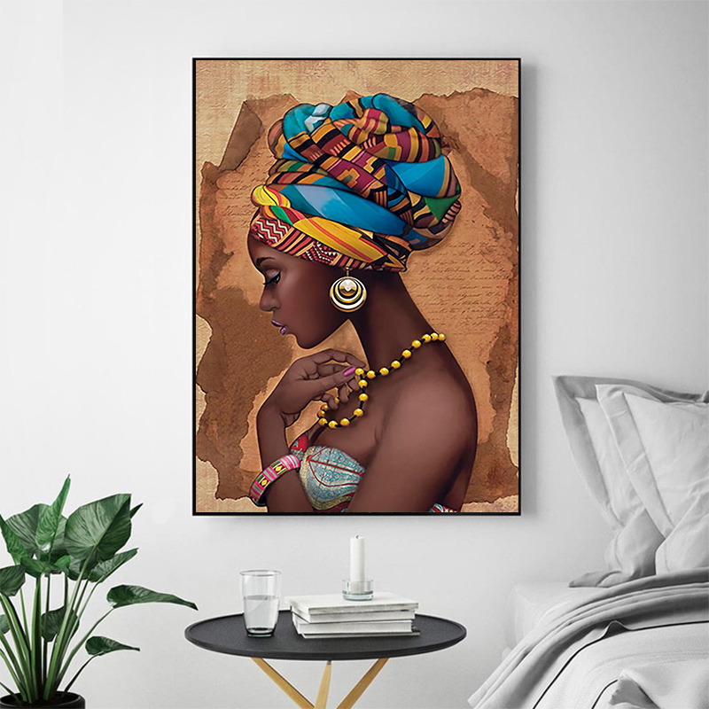 African Art Woman Painting Prints on Canvas Beauty Girl Scandinavian Posters Wall Art Picture for Living Room Horse Decor(China)