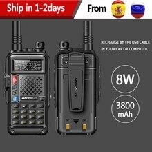 2020 BAOFENG BF UVB3 PIÙ di 8W potente UHF/VHF Dual Band 25KM Lungo Raggio Walkie Talkie 3800mAh batteria Portatile Radio uv 5r uv5r