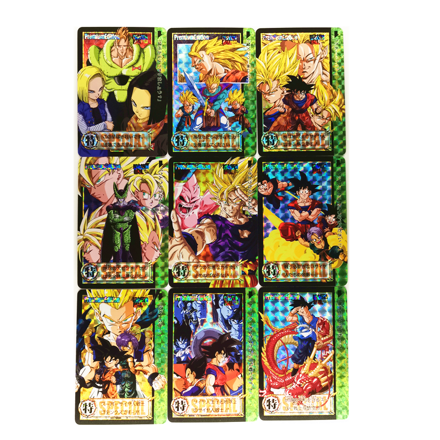 9pcs/set Super Dragon Ball Z Refractive Process Heroes Battle Card Ultra Instinct Goku Vegeta Game Collection Cards