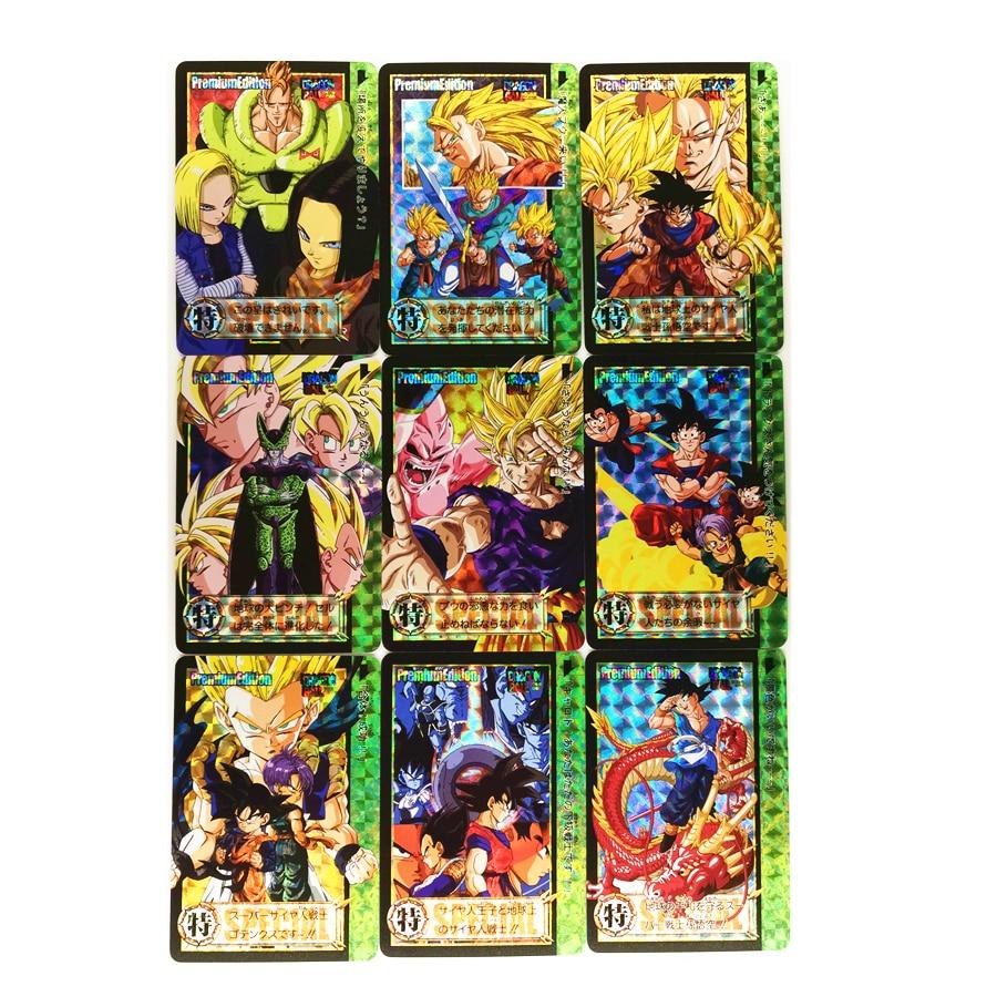 9pcs/set Super Dragon Ball Z Refractive Process Heroes Battle Card Ultra Instinct Goku Vegeta Game Collection Cards