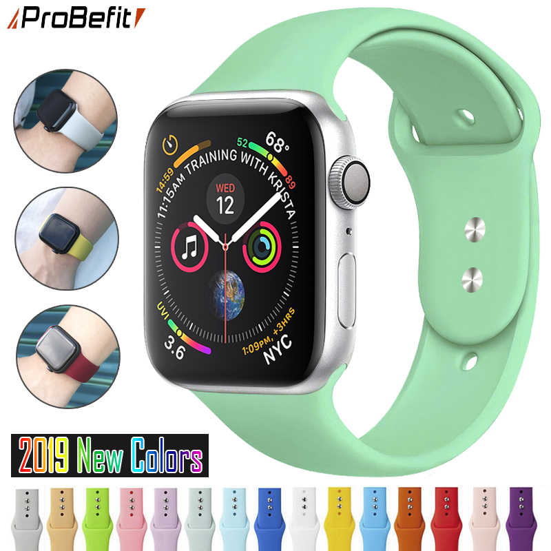 ProBefit soft Silicone Sports Band for Apple Watch 4 3 2 1 38MM 42MM Bands Rubber Watchband Strap for Iwatch series 4 40mm 44mm