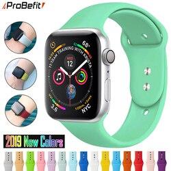 ProBefit macio relógio Esportivo Silicone Relógio Banda para Apple 4 3 2 1 38MM 42 MILÍMETROS Bandas Pulseira De Borracha Pulseira para Iwatch série 4 40mm 44mm