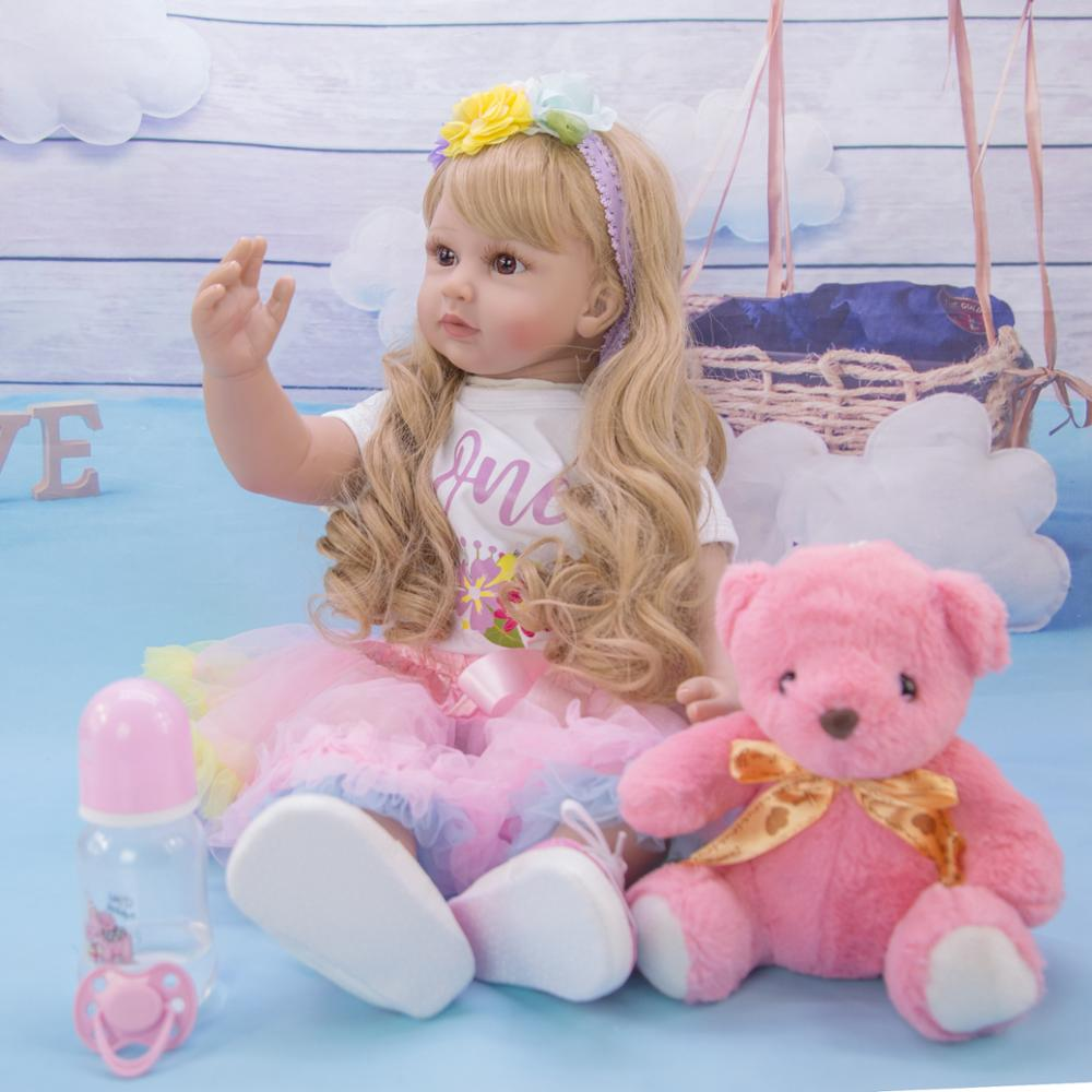 Silicone Reborn Baby Dolls 60cm Silicone Vinyl Reborn Baby Doll Toys For Girl Toddlers Soft Body Handmade Lifelike Long Hair Toy