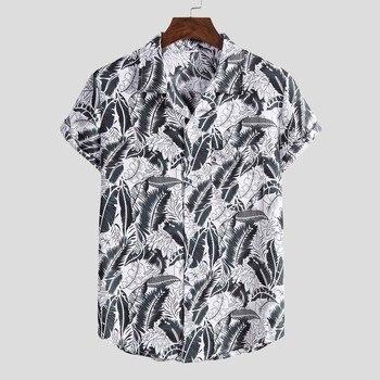Hawaiian Printing Mens Short Sleeve Shirt Fashion Ethnic Button Down Shirt Men Casual Blouse Men Tops Camisas para hombre hawaiian shirt male short sleeve casual shirt for men fashion stripe blouse men summer new