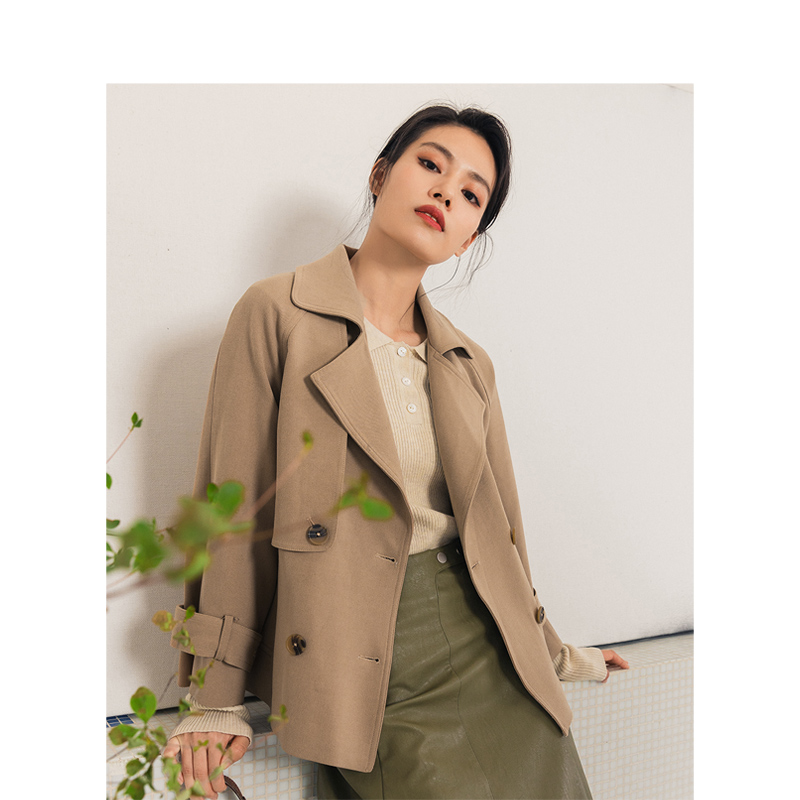 INMAN 2020 Spring New Arrival Retro Solid Color Double Breasted With Belt Women Office Causal Suit