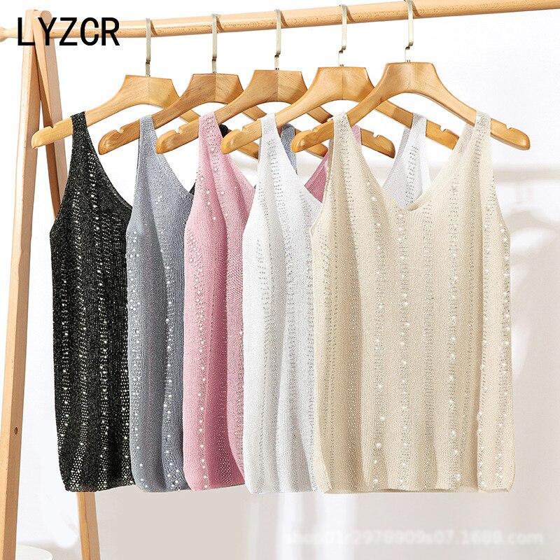LYZCR, сексуальный Вязаный топ с блестками, женский летний топ с v-образным вырезом, женские топы с блестками, Женская белая рубашка без рукавов...