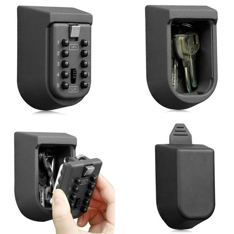 Outdoor Wall Mount Spare Key Safe Storage Box Waterproof Push Button Lock Holder
