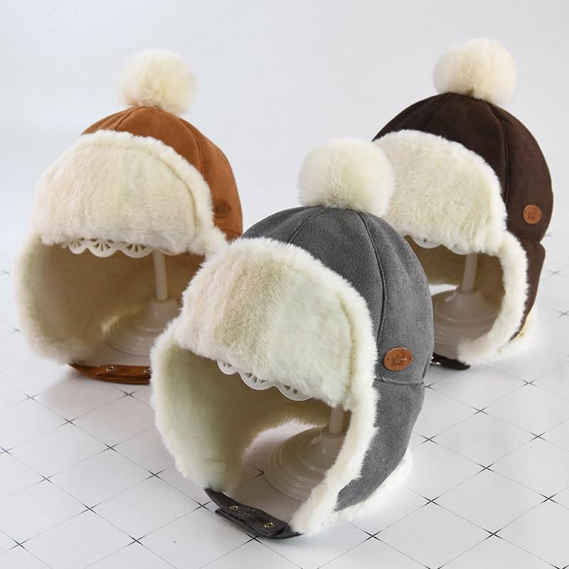 Маска для лица для мальчиков и девочек; шапка-ушанка с помпоном; милая детская зимняя бархатная утолщенная теплая ветрозащитная плюшевая шапка
