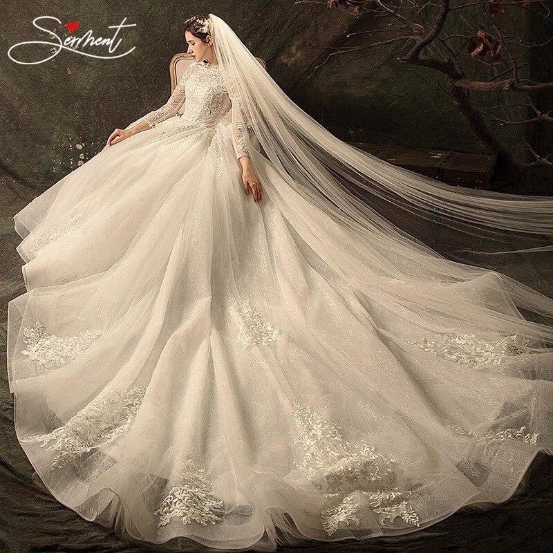 OLLYMURS Luxury Full Sleeves Lace Wedding Dress  Ball Gown Princess Bridal Wedding Gowns Church Wedding Bride Pregnant