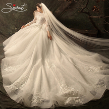 SERMENT Luxury Full Sleeves Lace Wedding Dress  Ball Gown Princess Bridal Gowns Church Bride Pregnant Woman Size